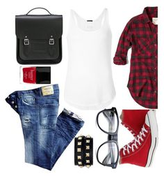 """""""theme color - red"""" by miss-sunshine-25 ❤ liked on Polyvore featuring Dsquared2, Converse, Abercrombie & Fitch, ATM by Anthony Thomas Melillo, The Cambridge Satchel Company, Valentino and Butter London"""