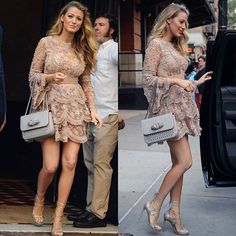 #BlakeLively taking🗽in a masterpiece by @eliesaabworld #Spotted #CelebStreetStyl
