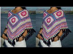 Cómo hacer un PONCHO a partir de un granny a crochet - YouTube
