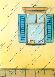 Original ACEO Painting Rainy day blues by PainterNik on Etsy Pen And Watercolor, Watercolor Animals, Cat Drawing, Painting & Drawing, Animal Gato, Chef D Oeuvre, Artist Trading Cards, Cat Art, Les Oeuvres