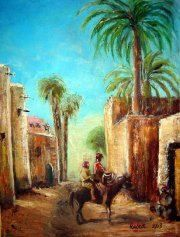 My village - Mike halem  Oil on canvas 18 x 24