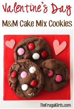 Valentine's Day M&M Cake Mix Cookies Recipe! ~ from TheFrugalGirls.com ~ just 4 ingredients and you've got yourself some delicious cookies to share some love this Valentine's Day! #cookie #recipes #thefrugalgirls