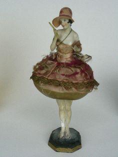 Large Antique German Art Deco Porcelain Half Doll Box 1920/30s