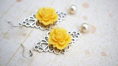 15 off SALE Earrings Silver Filigree and Yellow by VerdigrisGifts, $15.00