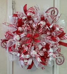 Christmas Wreath, Candy Cane Wreath, Holiday Wreath, Light Up Wreath, Door Wreath by SouthTXCreations on Etsy