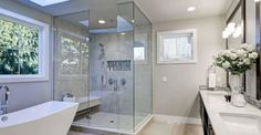 Custom Glass Shower Doors and Enclosures Architecture Durable, Architecture Renovation, Bathroom Cost, Add A Bathroom, Modern Bathroom, Bathroom Designs, Bathroom Remodeling Contractors, Bathroom Renovations, Shower Remodel