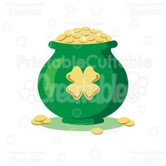 Lucky Pot of Gold SVG Cut File St. Patrick's Day Clipart - great for St. Patrick's Day Scrapbook layouts, greeting cards, party decor, and other paper piecing craft projects!