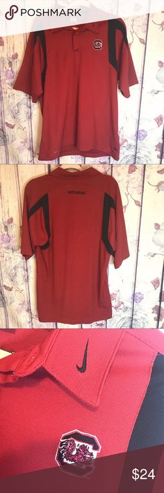 """3339ec37f NIKE SC GAMECOCKS FOOTBALL TEAM FIT DRY POLO Nike South Carolina Gamecocks  Team Fit Dry Mens Size L Red Black EUC. Measurements Width 22"""" Length 32.5""""  In ..."""