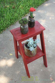 "Little Ladder Table - This is from an Ana White Plan - Makes a Nice Plant Stand. (Ana also has a taller ""painter's ladder shelf"" that I linked elsewhere.)"