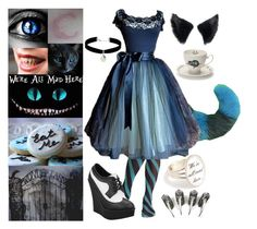 """""""Corrupted Kitty (Cheshire Cat)"""" by quinnfrey ❤ liked on Polyvore featuring Burton, Miss Selfridge, T.U.K. and Mrs Moore's Vintage Store"""