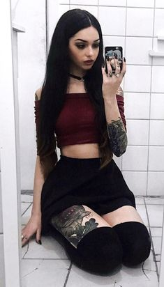 Choker necklace with off-the-shoulder crop top, black skirt & knee high socks by _emilylaura - #grunge #alternative #fashion