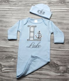 Baby boy coming home outfit nautical newborn baby gift blue and gray anchor letter personalized gown with monogram hat baby shower present by ChesapeakeBayby on Etsy https://www.etsy.com/listing/230644937/baby-boy-coming-home-outfit-nautical