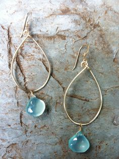Krystie earrings, easy to wear aqua chalcedony on 14k gold fill hoops! Lighweight and simple- they match everything!