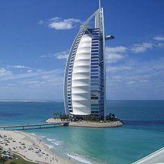 Burj Al Arab Hotel, Dubai. Built to resemble a billowing sail, the stunning architecture of Burj Al Arab Hotel in Dubai makes it one of the most photographed in the world. Dubai Hotel, Dubai City, Dubai Uae, Visit Dubai, Dubai Skyscraper, Burj Al Arab, Burg Khalifa, Abu Dhabi, Hotels And Resorts