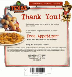 Free Appetizer  Expires 4/5/2014 http://www.pinterest.com/TakeCouponss/texas-roadhouse-coupons/