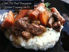 Crock Pot Beef Bourguignon, also called beef Burgundy, or boeuf à la Bourguignonne, is a well-known, traditional French peasant recipe turned haute cuisine. Slow Cooker Beef, Slow Cooker Recipes, Crockpot Recipes, Cooking Recipes, Healthy Recipes, Cooking Tips, Traditional French Recipes, Peasant Food, Easy Homemade Recipes