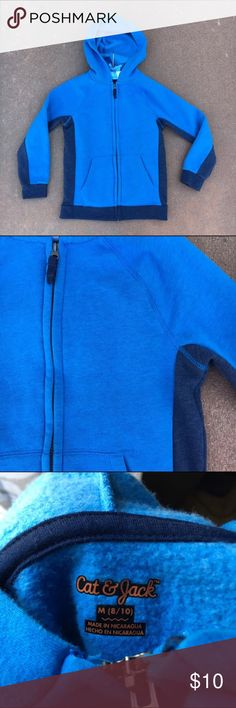 Cat & Jack Blue + Navy Hoodie Boys M 8/10 EUC! Only worn a couple times. No stains or damage. Heathered blue with navy under sleeves and sides hoodie jacket. So soft, comfortable and great quality. Offers warmly welcomed!! Boys Size M 8/10. Cat & Jack Shirts & Tops Sweatshirts & Hoodies