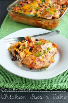 Chicken Fiesta Bake - This meal could not be simpler & it is full of vibrant colors making it fun to look at & eat. DessertNowDinnerLater.com #chicken #casserole #recipe