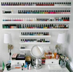 Wall Shelf with a lip for storing nail polish