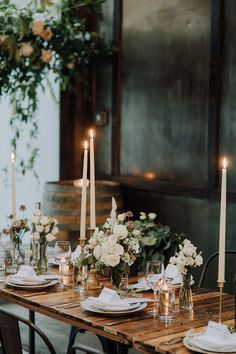 Non-Traditional Venue with Rustic Industrial Farmhouse Style for a Brooklyn Winery Wedding Reception with Greenery and Candles