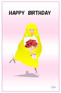 otoga / Happy Birthday / Budgie Budgerigar Parakeet / Post Card  / Art Print