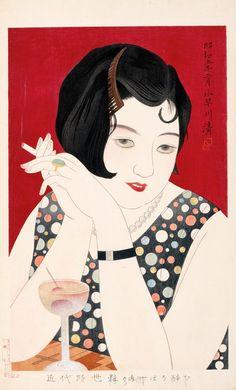 Tipsy, modern girl  in Japan 1930  by Kobayakawa Kiyoshi