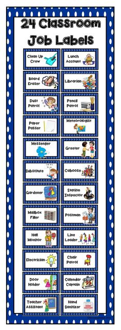 83 Classroom Job Labels 24 classroom job labels to help teach your students leadership and responsibility in the classroom. The post 83 Classroom Job Labels appeared first on Best Of Daily Sharing. Classroom Helpers, Classroom Labels, Classroom Organisation, Classroom Rules, Classroom Behavior, New Classroom, Teacher Organization, Classroom Management, Classroom Decor