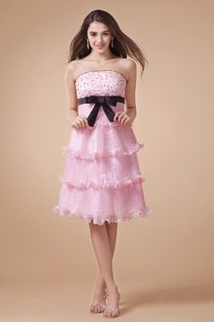 Sleeveless Thin Hourglass Beading Fancy Romantic Misses Strapless Summer Cocktail Dress/ Homecoming - 1