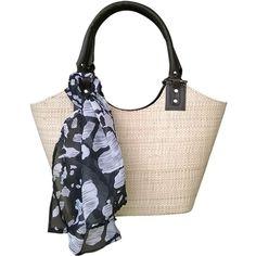 Bolsa em Palha de Buriti Crua com Lenços de Estampas: animal print, tie dye, oncinha, floral, flores - Artestore Bolsas Femininas em Palha
