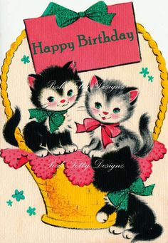 Happy Mothers Day and Happy Birthday Kittens In A Basket Vintage Greetings Card Digital Download Printable Images (343). $2.50, via Etsy.