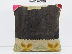 kilim rug pillow modern cushion cover geometric pillow floor pillow cover decorative bed pillow floral throw pillow black kilim pillow D2062
