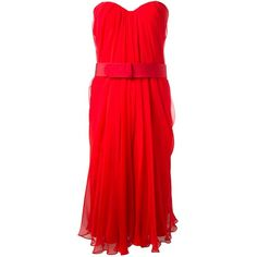 Red silk strapless dress from Alexander McQueen featuring a sweetheart neckline and a softly pleated a-line design.