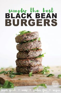 Healthy gluten free vegan Black Bean Burgers that are easy and done in 10…
