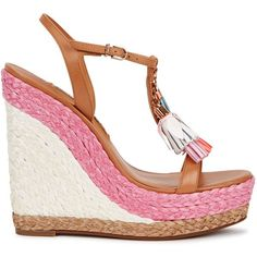 Sophia Webster Lucita Espadrille Wedge Sandals - Size 3 (915 BGN) ❤ liked on Polyvore featuring shoes, sandals, leather strap sandals, wedge sandals, leather sandals, high heel wedge sandals and leather wedge sandals