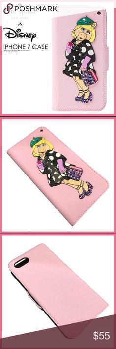 """Kate Spade Miss Piggy iphone 7/8 folio case Super cute and Special edition  kate spade NEW YORK"""" With """"DISNEY"""" (Disney) A collaboration-limited model! Notebook type IPHONE seven cases of the extreme popularity """"DISNEY MISS PIGGY COLLECTION BY KATE SPADE NEW YORK APPLIQUE FOLIO IPHONE 7/8 CASE"""" kate spade Accessories Phone Cases"""