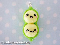Kawaii polymer clay peas in a pod charm by LittleJulesCreations