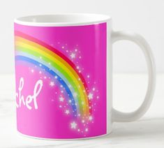 Shop Personalized name girls rachel rainbow pink mug created by Mylittleeden. Treat Yourself, Make It Yourself, Stainless Steel Coffee Mugs, Personalized Coffee Mugs, Funny Coffee Mugs, Coffee Travel, Photo Mugs, Funny Jokes, Create Your Own