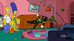 "Simpsons couch gag features Itchy & Scratchy:  The Simpsons couch gag gets very meta in this week's episode ""The Wreck of the Relationship."" The family arrives home to find Itchy & Scratchy, a cat and mouse team with a rivalry like Tom and Jerry except much more violent. The characters are from a cartoon short featured on The Krusty the Clown Show, which itself is a show within the Simpsons universe.  #funny #tv #cartoon  http://l7world.com/2014/10/simpsons-couch-gag-features-itchy-scratchy...."