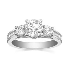 Engagement Ring with Side Stone 7/10 CT. T.W