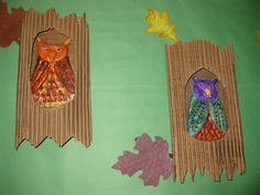 Owls sitting in the trees. gr.4TAP  model magic clay and corrugated paper