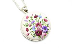 Fashion Jewelry Floral Pendant Necklace Polymer Clay Jewelry Polymer Clay Necklace Pendant Polymer clay applique Gift for her Gift for wife