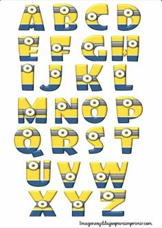 Letters of the alphabet with minions to print Minion Party Theme, Despicable Me Party, Minions Despicable Me, Minion Birthday, Boy Birthday, Happy Birthday, Bolo Minion, Minion Classroom, Minion Stuff