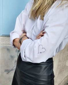 OSLO:UNBRANDED Custom made white shirt with embroidery paired with black high waist leather skirt All Heart, Heart Day, Oslo, Ethical Fashion, Sustainable Fashion, Custom Made, Something To Do, Leather Skirt, Street Style