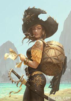 Pirate woman Black Heart Bela by BobKehl Fantasy Girl, 3d Fantasy, Fantasy Artwork, Fantasy Character Design, Character Concept, Character Art, Concept Art, Dnd Characters, Fantasy Characters