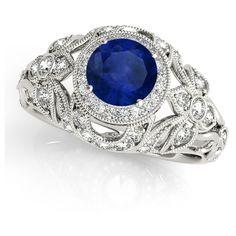 Allurez Edwardian Blue Sapphire & Diamond Halo Engagement Ring... ($3,825) ❤ liked on Polyvore featuring jewelry, rings, halo diamond ring, platinum rings, blue sapphire engagement rings, edwardian rings and platinum jewelry