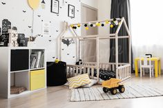 Childrens interior ideas, toddler bed twin size, baby bed, children bed, montessori wooden house, nursery interior crib, toddler bedroom design, girl room, with fence