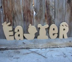 Unfinished Wood EASTER Letters Spring Home Decor by artsychaos, $16.99