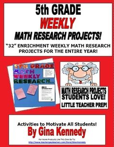 5th Grade Math Enrichment Weekly Research Projects!  Easy