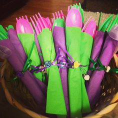 Wrapped utensils for tinkerbell themed party These can be custom to any theme just contact me for prices jeanellemarie@ymail.com