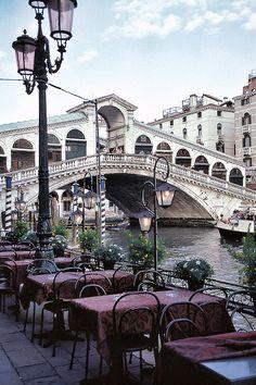 Italy, Venice, River, Bridge, Cafe, Riverside,